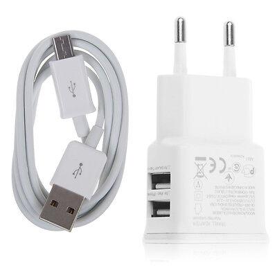 2A Dual Port USB Chargeur Adaptateur Secteur + Câble Micro USB Pr Samsung Galaxy