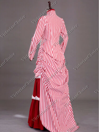 Victorian Edwardian Red Stripe Steampunk Mary Poppins Bustle Riding Dress 139