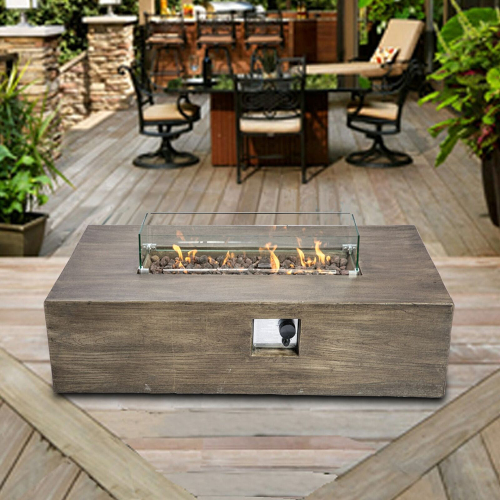 Peaktop Firepit Outdoor Gas Fire Pit Concrete Style, With Cover HF48708AA-UK