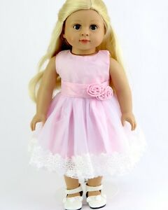 """Lovvbugg Perfect Pink Lace Dress Tulle for 18"""" American Girl Doll Clothes Easter"""