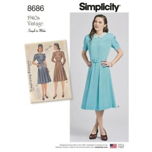 Simplicity-Sewing-Pattern-8686-Women-039-s-Vintage-1940s-Dress-Simple-to-Sew