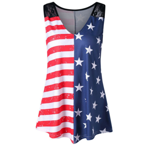 UK Damen Ärmelloses Top Amerikanische Flagge Aufdruck Spitzeneinsatz