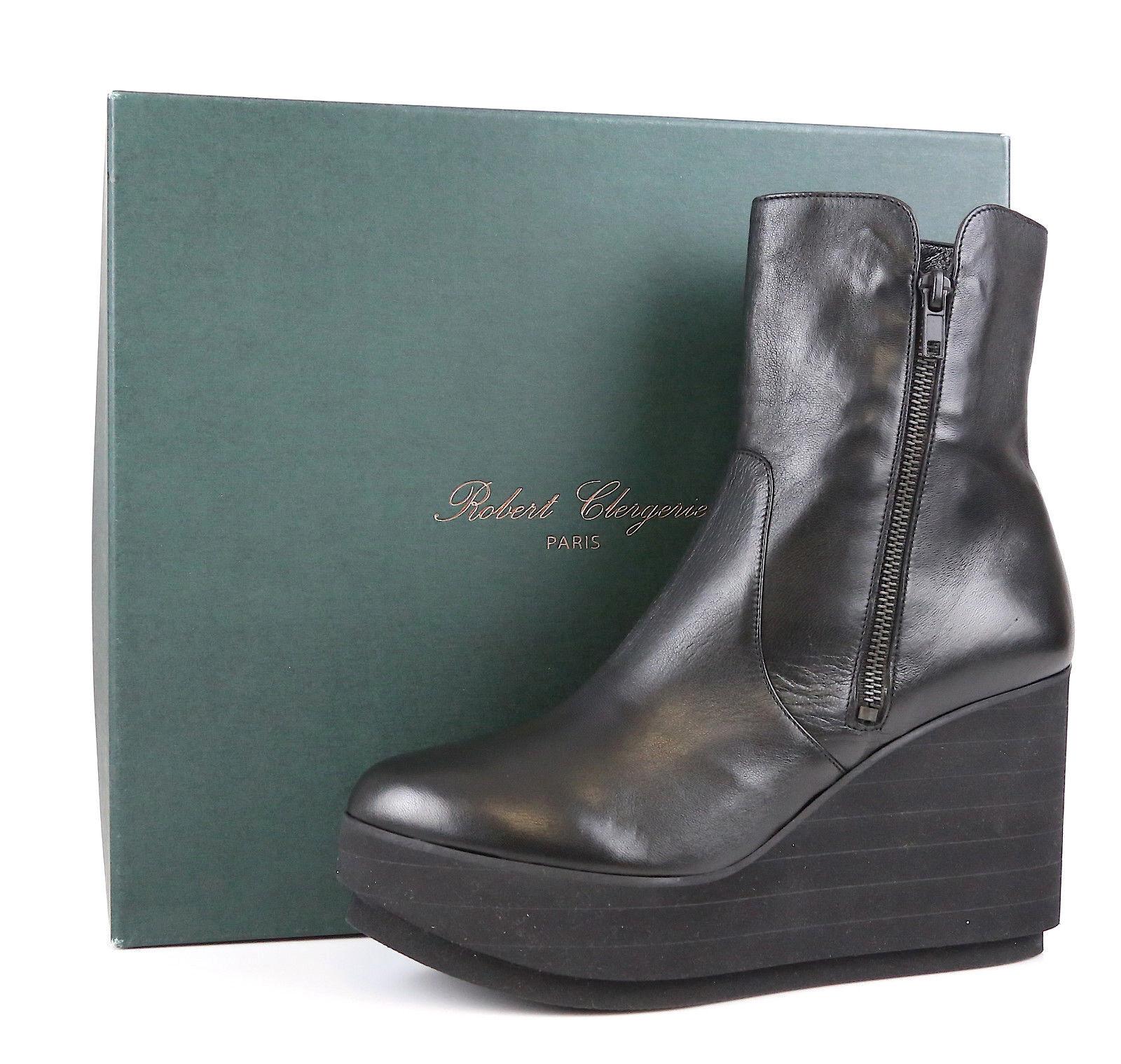 Robert Clergerie Charta 1163 Negro Cuero Cuña Plataforma botas botas botas al Tobillo Talla 10  Todos los productos obtienen hasta un 34% de descuento.