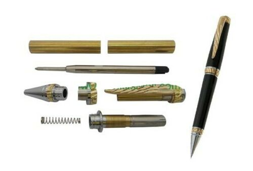 5 Pack Gold /& Chrome Accents Ultra Cigar Pen Woodturning Kits w//bushings