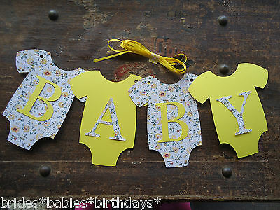 4 Bunting Flags Banners Garland Onesies BABY Vintage Baby Shower Yellow DIY Y3