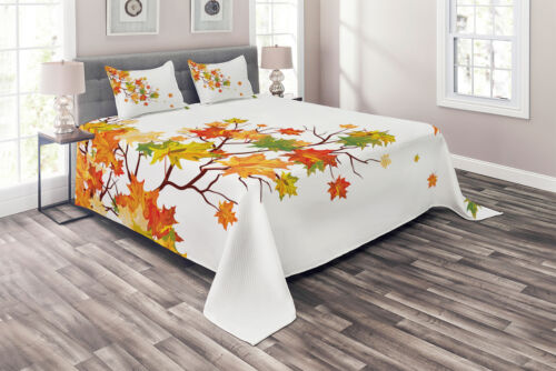 Fall Quilted Coverlet /& Pillow Shams Set Autumn Foliage Maple Leaf Print