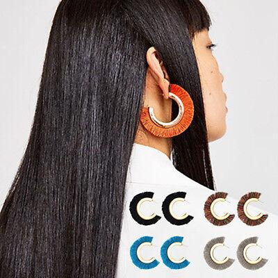 Women Big Fan Shape Hoop Tassel Fringe Dangle Drop Earrings Clip Fashion Jewelry