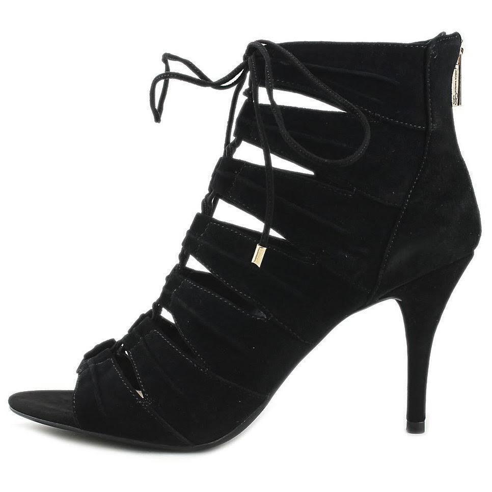 Jessica Simpson Mahiri Lace Up Ghillie Sandals Open Toe Heels, Black Pumps, 9M