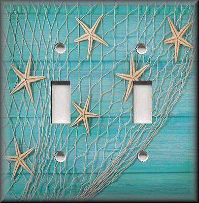 Beach Decor Starfish Fishing Net Turquoise Blue Metal Light Switch Plate Cover