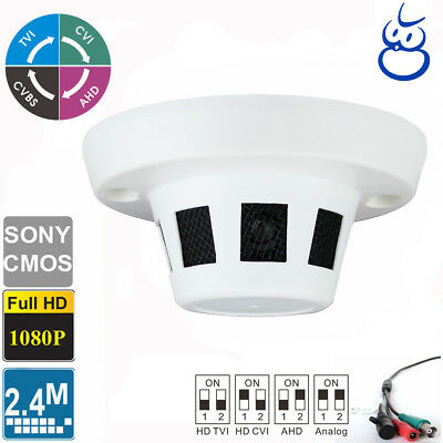HD-TVI Spy Smoke Detector Camera 2.4MP CMOS HD 1080p Nanny Cam 4-in-1 Audio