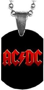 AC/DC Red Logo Mini Dog Tag Necklace Metal Balls Chain Rock Merchandise