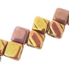 Red Luster 6mm Silky Diamond Glass Czech 2-Hole 40pc Tile Beads