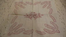 """Antique TURKEY RED EMBROIDERED PILLOW COVER Doily 22""""x19-1/2"""""""