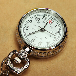 Large-Face-Nurses-Pocket-Fob-Watch-on-a-Bar-with-Brooch-Chain-Back-Silver-Color