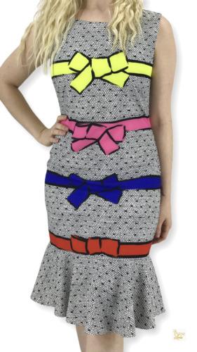 MOSCHINO Boutique Multicolor Polka Dot Stripe Bow
