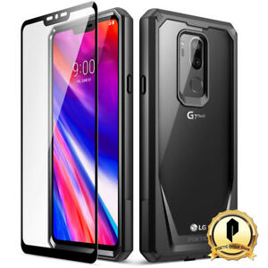 Poetic-LG-G7-ThinQ-Guardian-Rugged-Clear-Bumper-Case-With-Tempered-Glass-Black