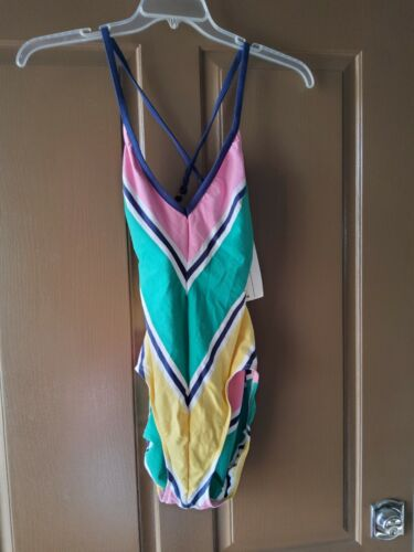 1970s Perfect Vintage Catalina Psychedelic Tropical Swimsuit with Pleated Skirt Size 14