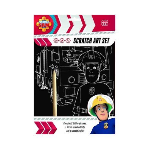 Fireman Sam Scratch Art Set Fun Craft Play For Kids Gifts Toys Fire Engines