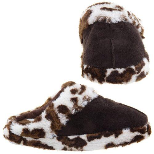 Easy Brown Leopard Trim Slippers for Girls Slip on Clog