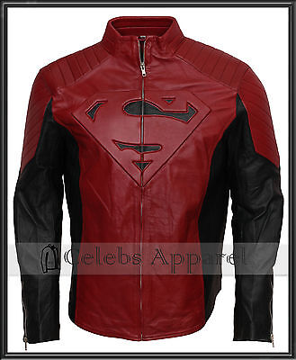 US Leather Superman Man of Steel Embossed Synthetic Leather Jacket