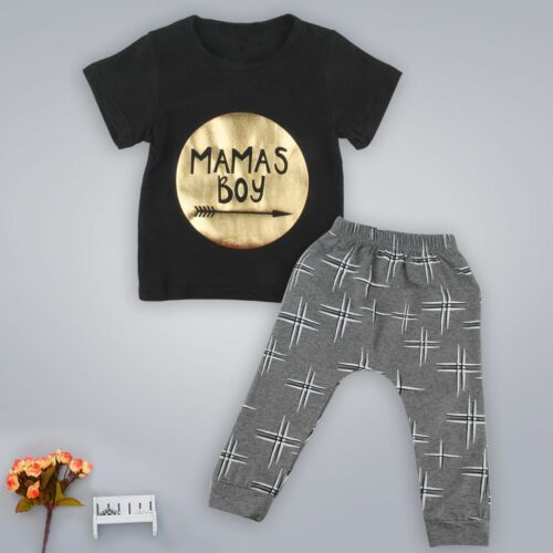 2pcs Newborn Infant Baby Boys Short SleeveT-shirt Tops+Pants Kids Clothing Sets