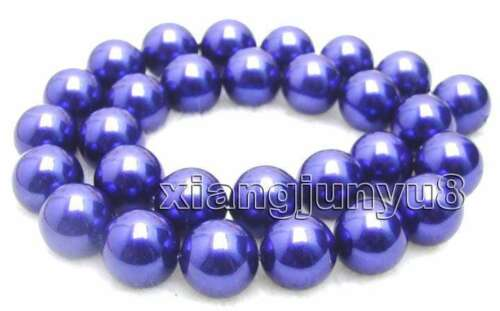 """14mm Round Blue Sea Shell Pearl Gemstone Beads for Jewelry Making DIY Strand 15/"""""""