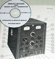Hp Hewlett Packard 240a Sweep Signal Generator Operating & Service Manual