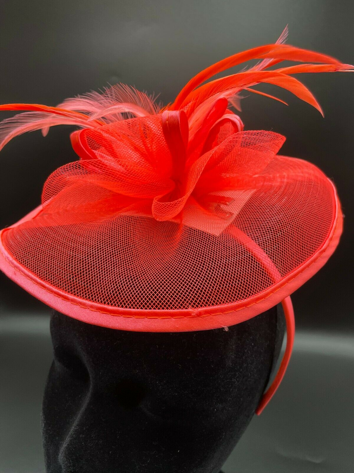 * New bright coral pink fascinator + FREE headband clip on wedding hat formal