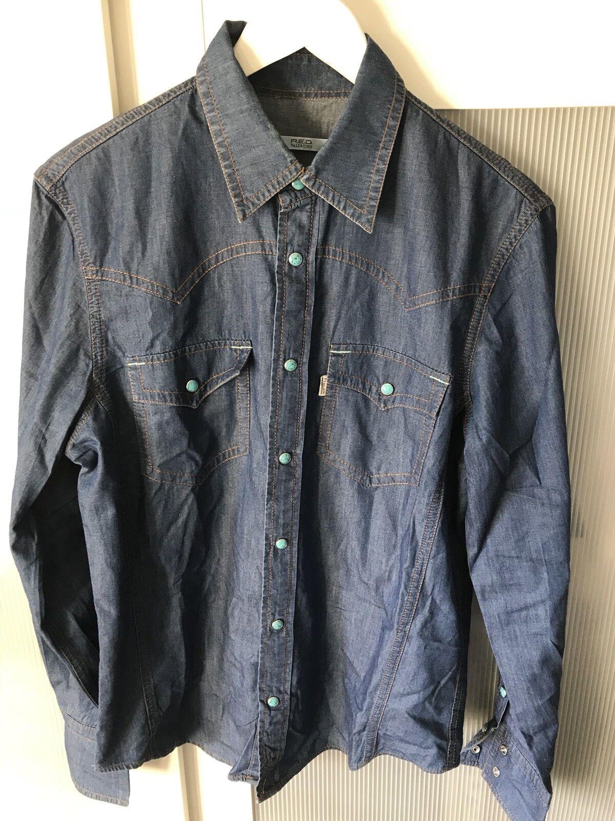 Valentino R.E.D men denim shirt cool design 100% authentic size 48