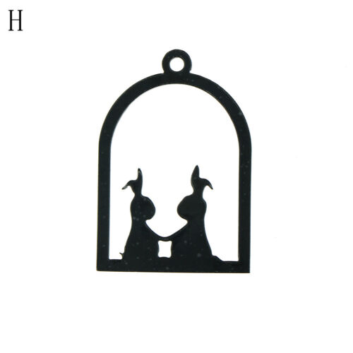Unique Acrylic Bezel Pendant UV Resin Hollow Black Frame Charms Jewelry D BB