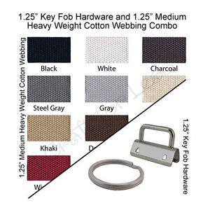 25-Key-Fob-Hardware-and-10-Yards-Medium-Heavy-Weight-Cotton-Webbing-1-25-034-Combo