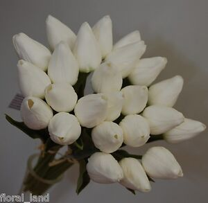 LATEX-WHITE-REAL-TOUCH-TULIP-WEDDING-BOUQUET-FLOWER-TULIPS-POSY-24-HEADS