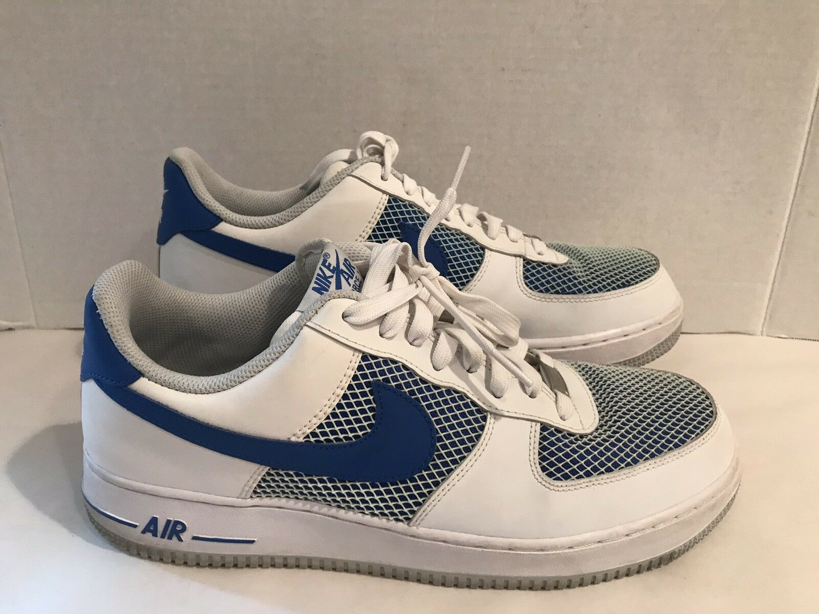 Nike Air Force 1 Men White Cobalt bluee Platinum Mesh Grid 488298-150 Sneaker 11
