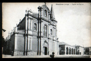 MAZERES-09-HALLE-de-Marche-amp-EGLISE-animee-debut-1900