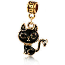 1P18k Gold Polished Black cat Charm Pendant fit European Silver Bracelet A#437