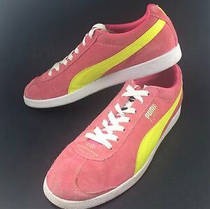 ec7e9217696d5a Image is loading Puma-Flipper-Pink-Yellow-Suede-Athletic-Sport-Sneakers-