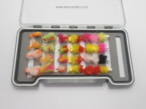 Mixed Varieties and size 24 in compartment Box Wet Trout flies Fly Fishing