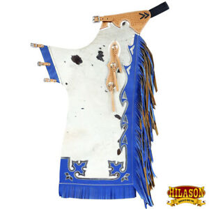 Hilason Bull Riding Light Natural Genuine Hair On Leather Rodeo Chaps