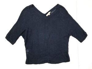 Ann taylor loft loose knit oversized dolman short sleeve sweater blue size small