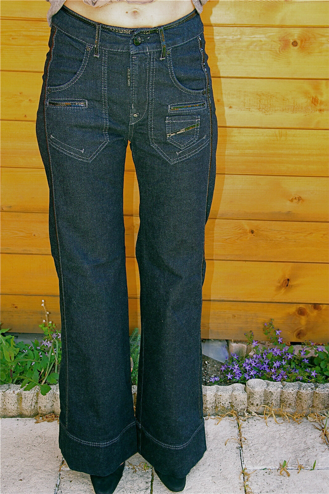 Pretty jeans cotton and vinyl strechy flare MC PLANET size 36 NEW LABEL