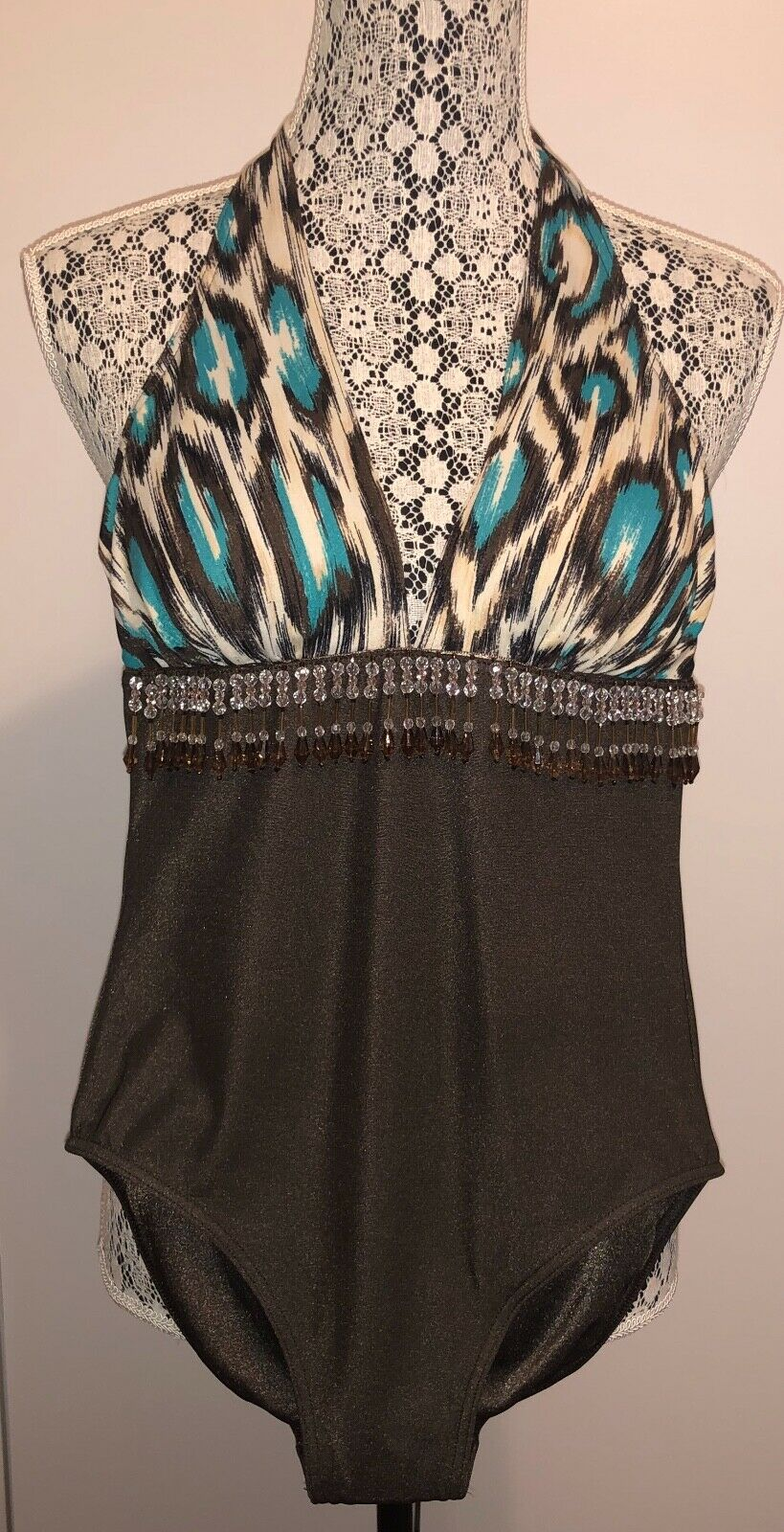 Lauren Ralph Lauren Brown Leopard Print One-piece with Beaded Fringe Size 4 NWOT