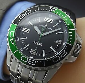 Big-Size-44-mm-JACQUES-LEMANS-AUTOMATIC-SAPPHIRE-DATE-Herren-Armbanduhr-in-Stahl