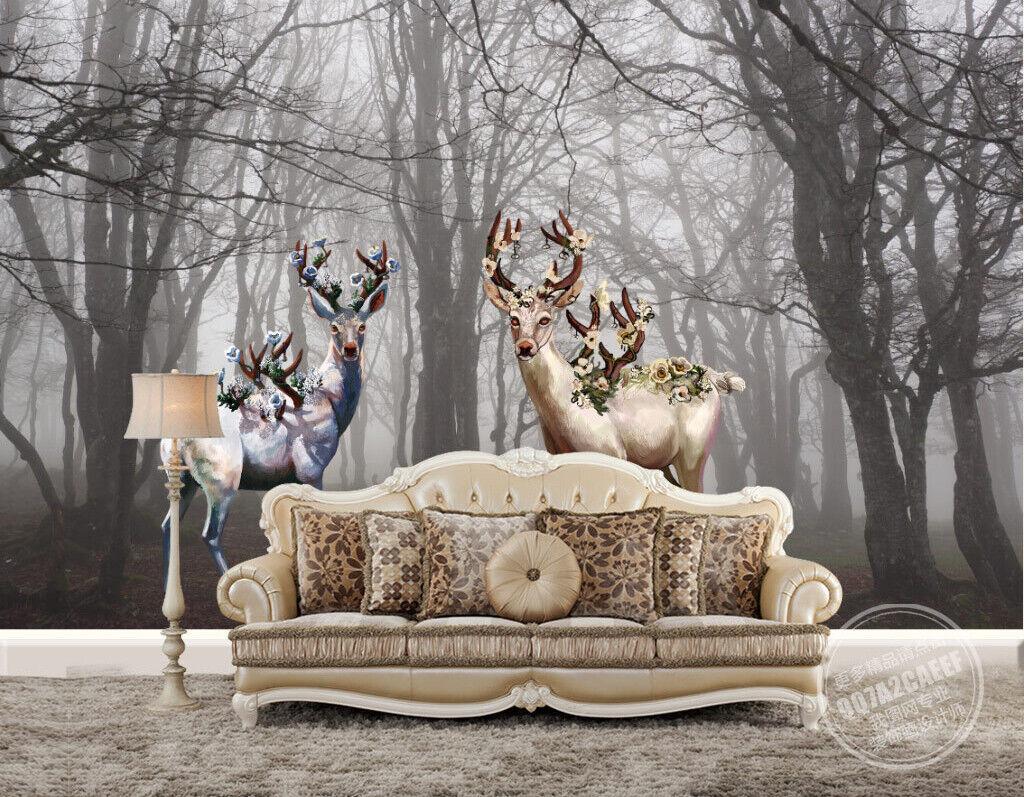 3D Wald Elk Kunst M149 Tapete Wandbild Selbstklebend Abnehmbare Aufkleber Amy