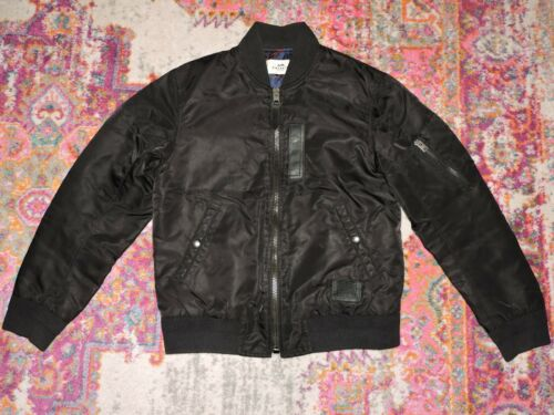 Coach MA-1 Mens Bomber Jacket Nylon Leather Black