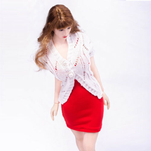 """VIMI 1//6 Scale Female White Sweater /& Red Skirt for 12/"""" Action Figure Body"""