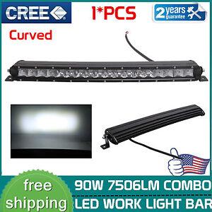19inch 90w Cree Curved Led Light Bar Single Row Combo