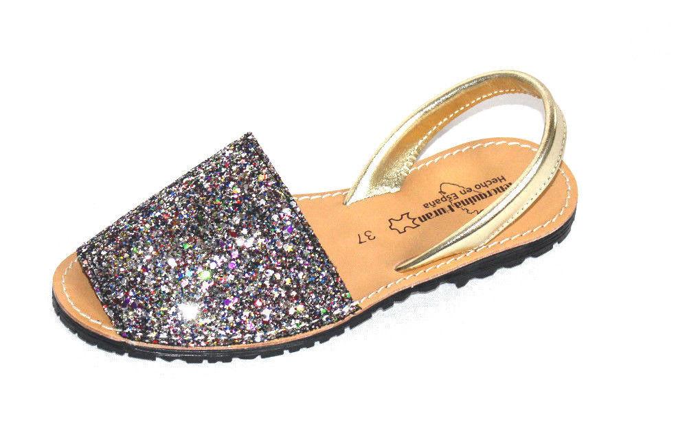 Espadrilles Glitzer Leder Sandalen Avarcas Sling Spain Glitter Leather Sandals