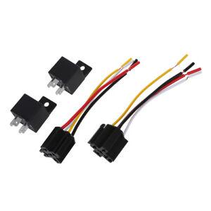 2-Rele-039-Relays-12V-4-Contatti-40A-con-Presa-per-Auto-Allarme-W2C3