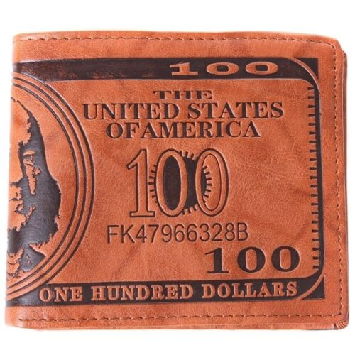 Men/'s Brown US Dollar Bill PU Leather Wallet Bifold Credit Card Photo Holder W