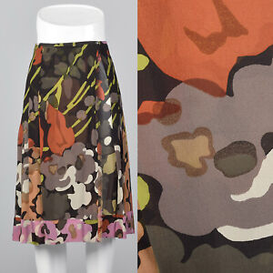 Vintage Abstract Print Silk Culottes